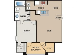 1-bedroom, 1-bathroom floor plan layout with 764 square feet of living space at The Willows apartments for rent