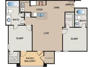 2-bedroom, 2-bathroom floor plan layout with 1,040 square feet of living space at The Willows apartments for rent