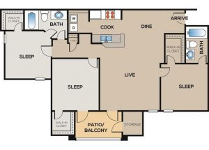 3-bedroom, 2-bathroom floor plan layout with 1,262 square feet of living space at The Willows apartments for rent