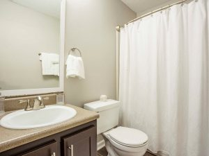 Bathroom with shower/tub combo, toilet, and vanity at The Willows apartments for rent
