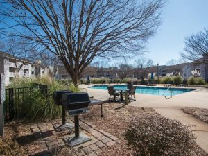 Outdoor grilling/BBQ area at The Willows apartments for rent in Spartanburg, SC