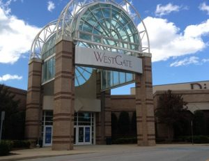 Entrance to WestGate Mall near The Willows apartments for rent