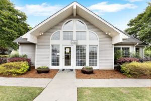 Entrance to leasing office of The Willows apartments for rent in Spartanburg, SC