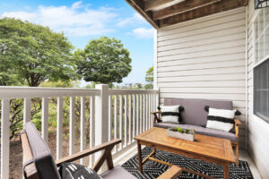 Private balcony/patio with ample seating at The Willows apartments for rent in Spartanburg, SC