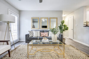 Spacious furnished living room at The Willows apartments for rent in Spartanburg, SC